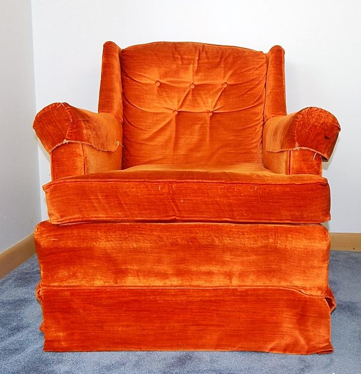 1970s Retro Johnson Caper Orange Velour Lounge Chair Ebth