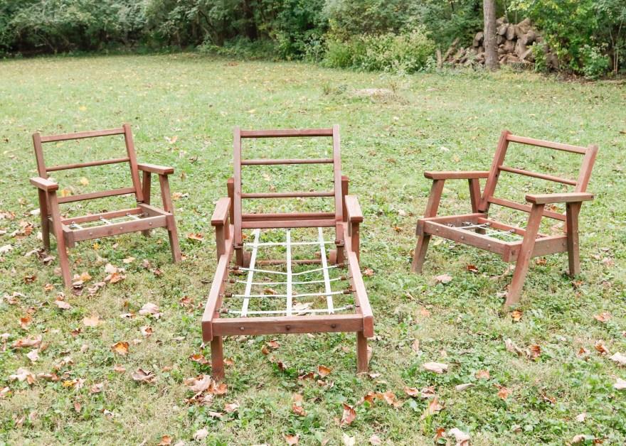 Three-piece Vintage Redwood Lawn Furniture Ebth