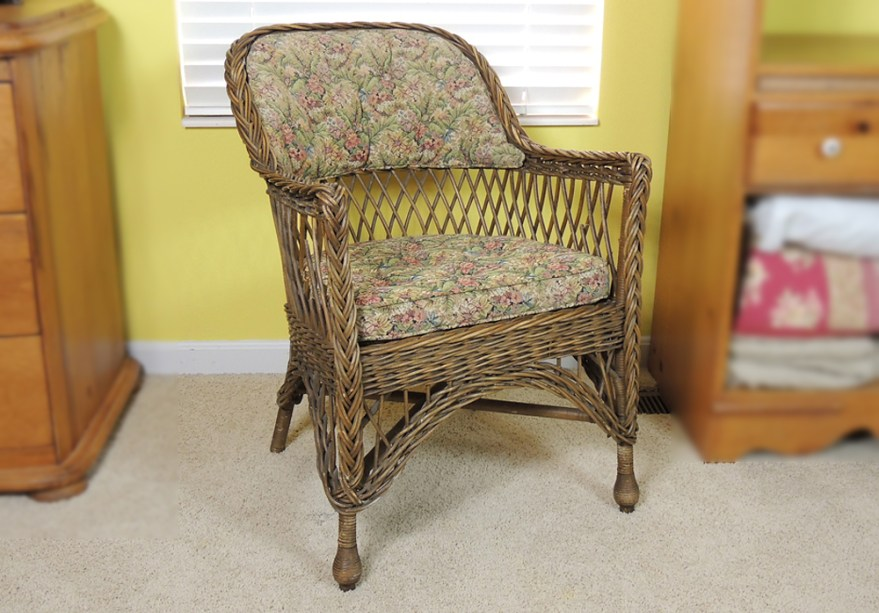 Vintage Wicker Chair With Upholstered Seat And Ebth