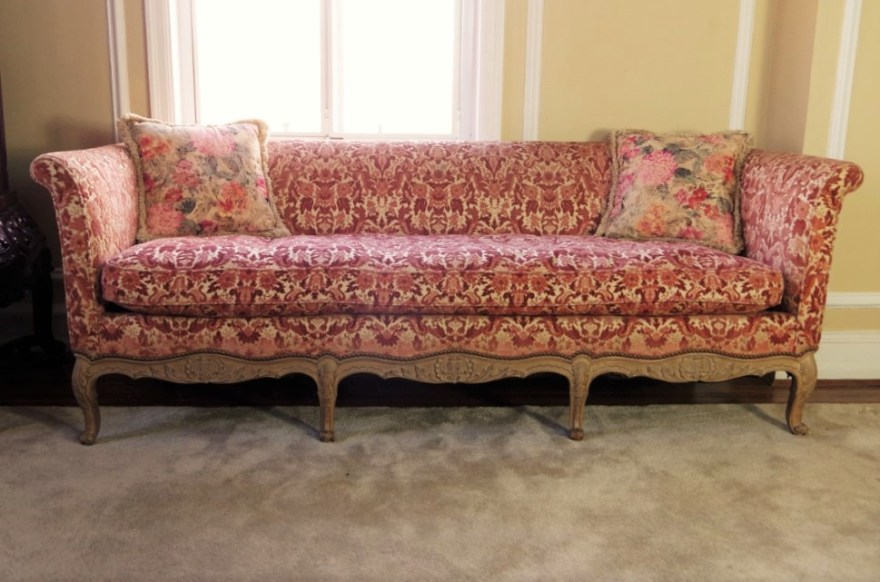 Vintage French Provincial Sofa With Velvet Tapestry