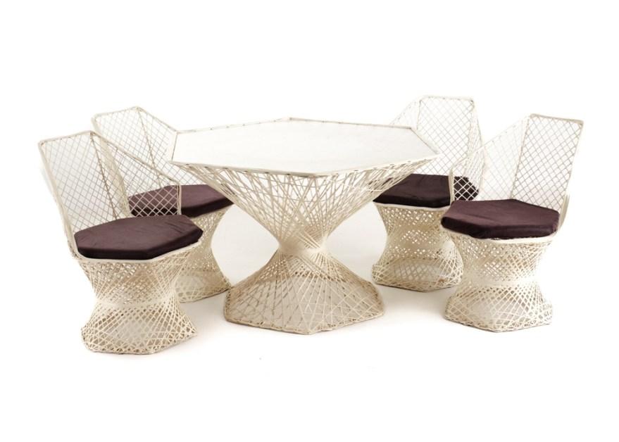 woven spun fiberglass table and four chairs
