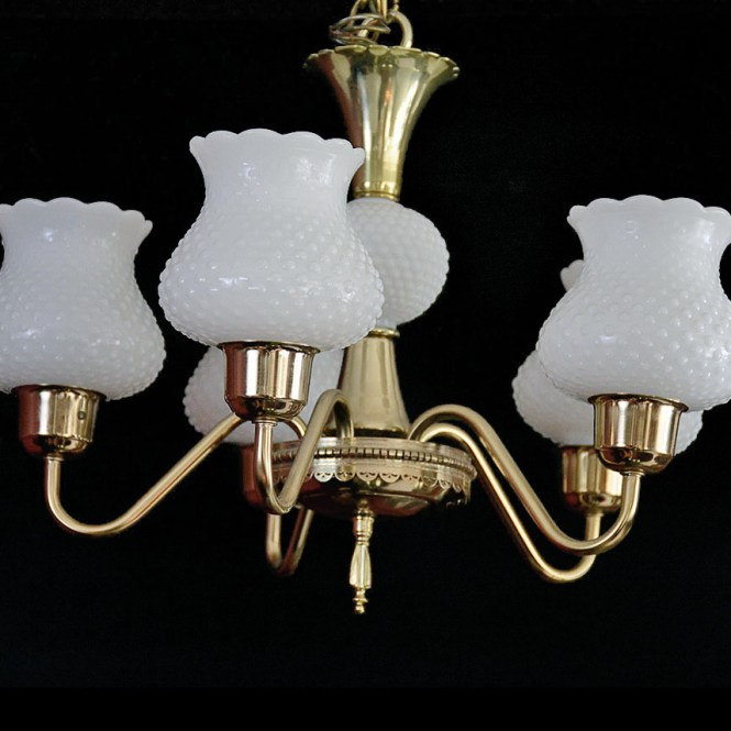 Chandelier With Hobnail Milk Glass Globes