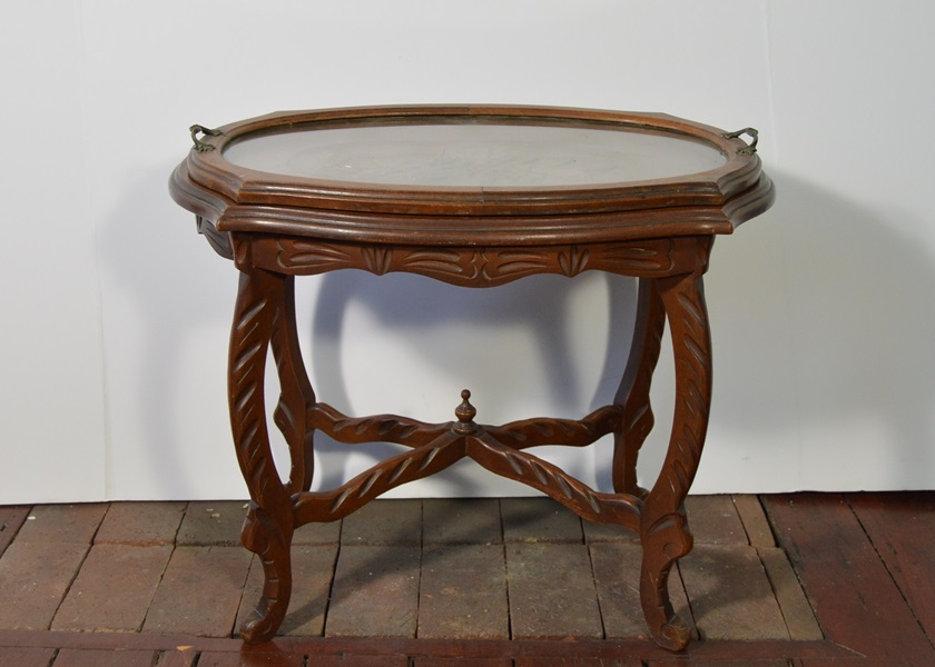 Tea Table With Glass Tray Top EBTH