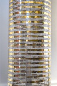 Mid Century Crackle Glass and Gold Stripe Table Lamp : EBTH