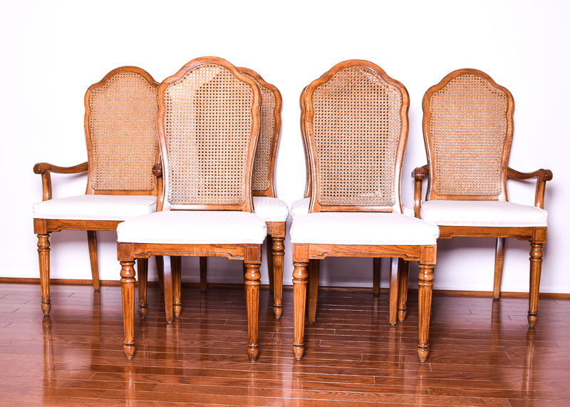 cane back dining room chairs academy beach chair set of six thomasville ebth