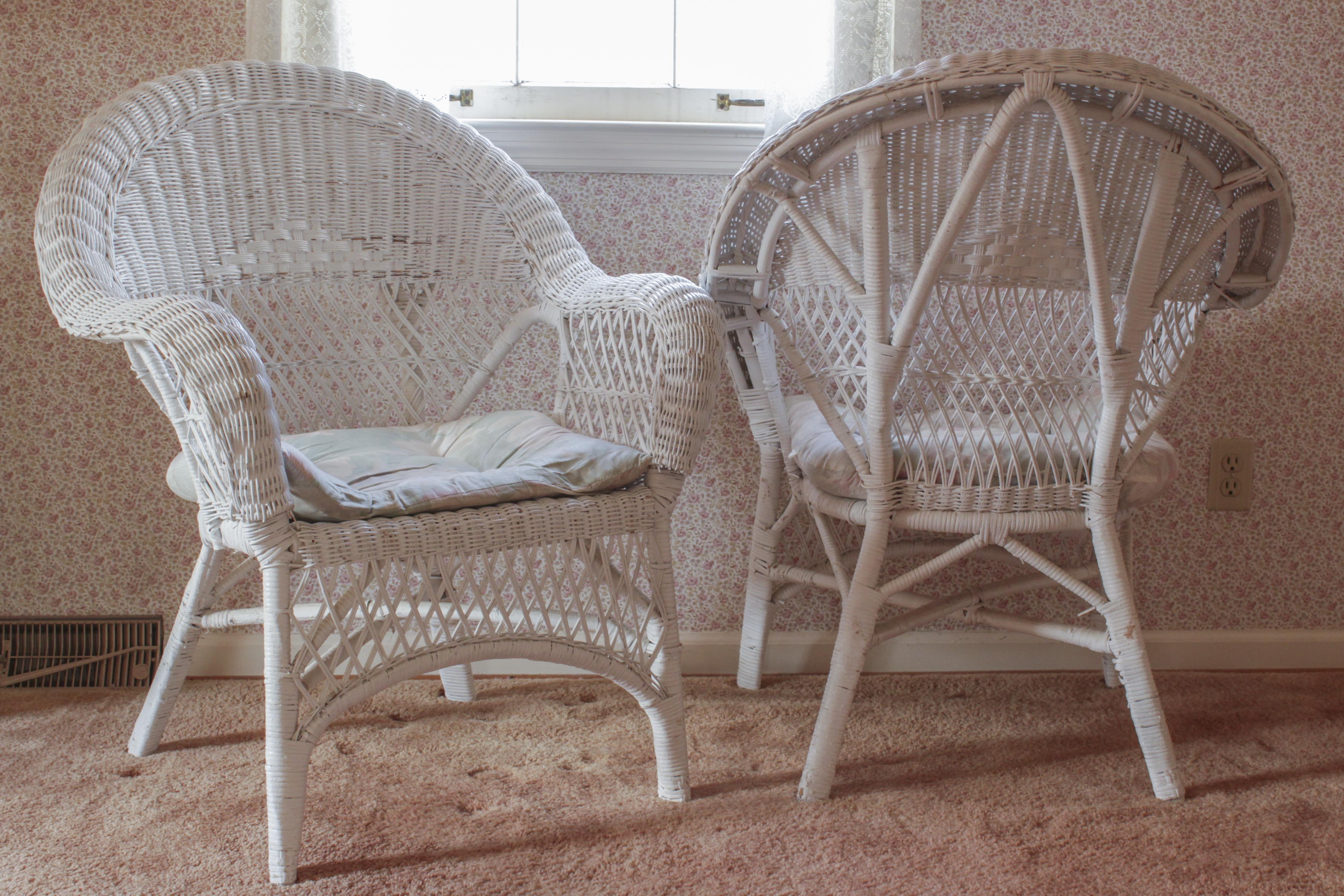 retro white chair vintage wooden chairs wicker ebth