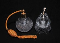 Glass Oil Lamp and Crystal Perfume Bottle : EBTH