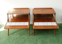 Lane Mid Century Modern End Tables with Tile Inlay : EBTH