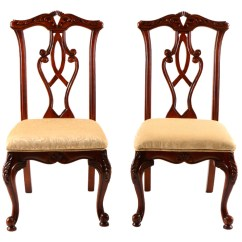 Queen Anne Style Chairs Dark Table With White Pair Side Ebth