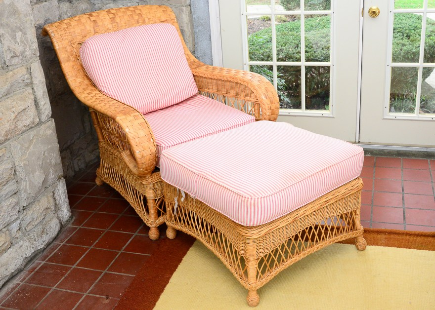 Henry Link Wicker Patio Chair And Ottoman Ebth