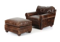 Restoration Hardware Leather Chair and Ottoman : EBTH