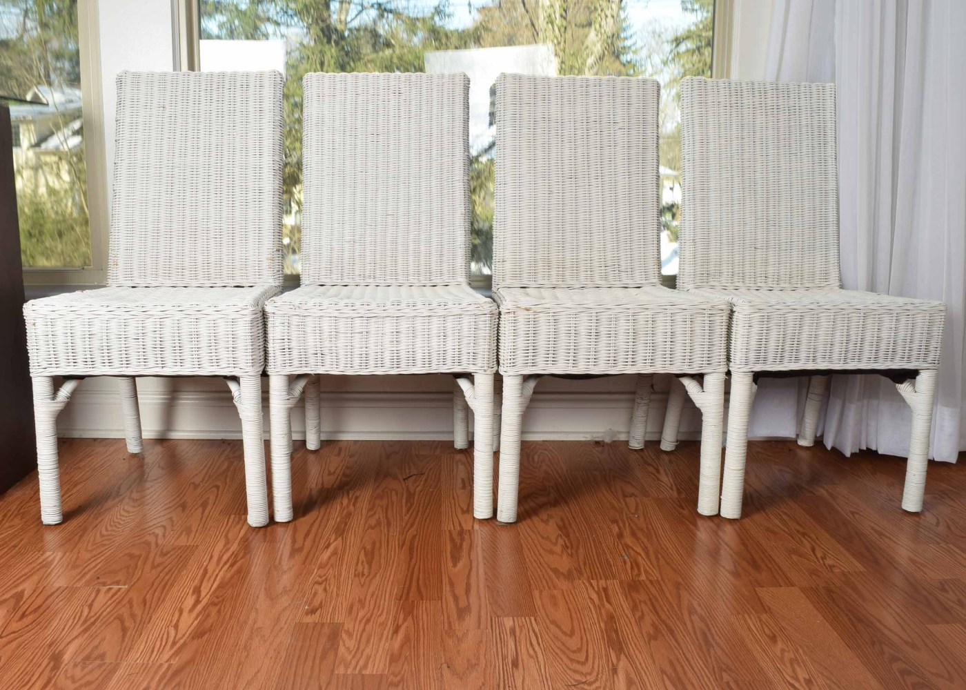 Four White Wicker Parsons-style Chairs Ebth