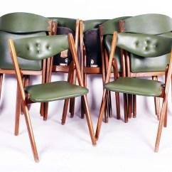 Coronet Folding Chairs Skovby Teak Dining Eight Mid Century Wonderfold Ebth