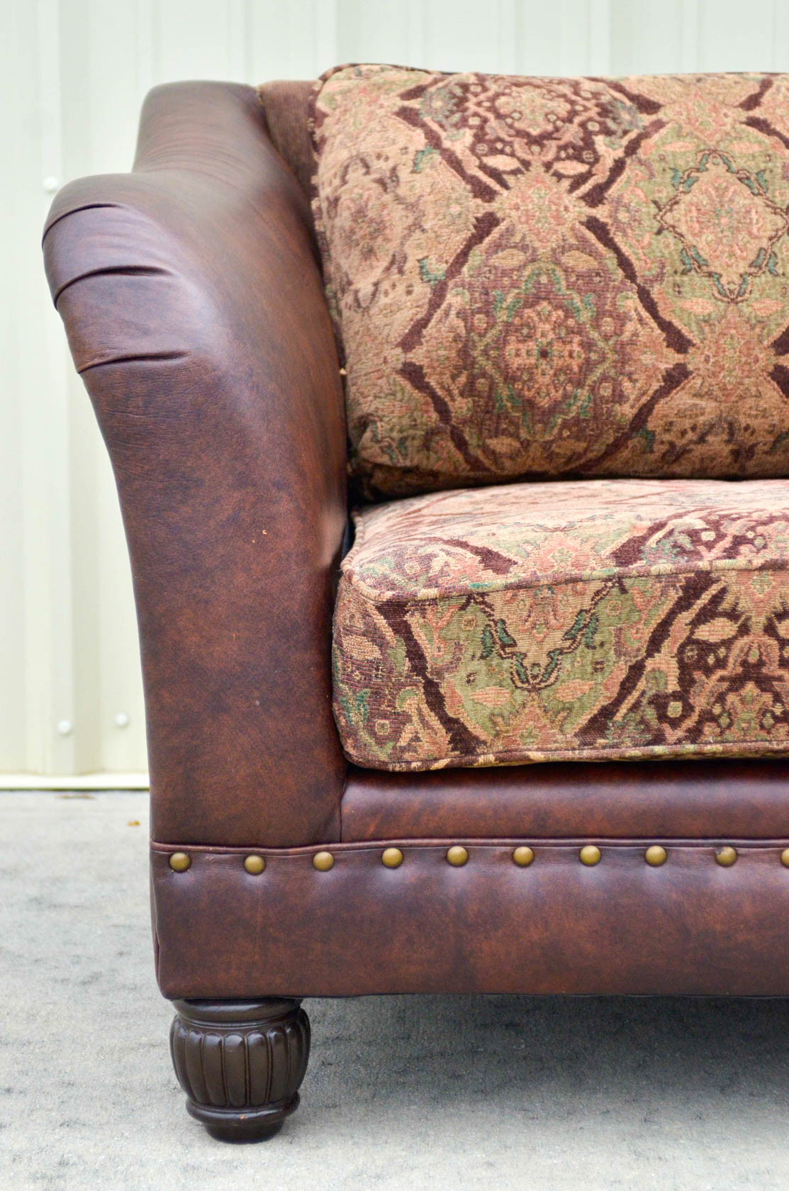 leather sofa with fabric seat cushions arm covers for sofas five cushion and tapestry by bernhardt ...