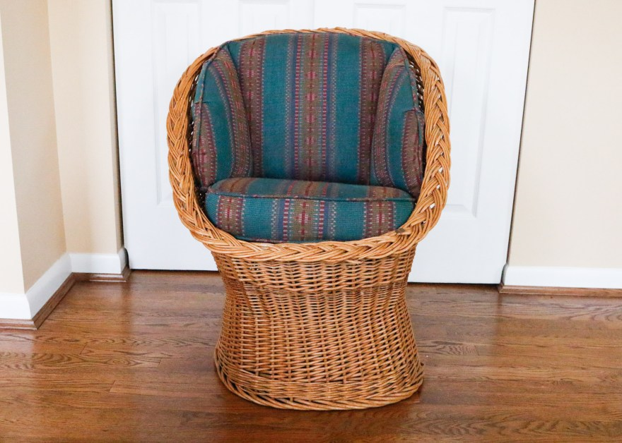 MidCentury Wicker Egg Chair  EBTH