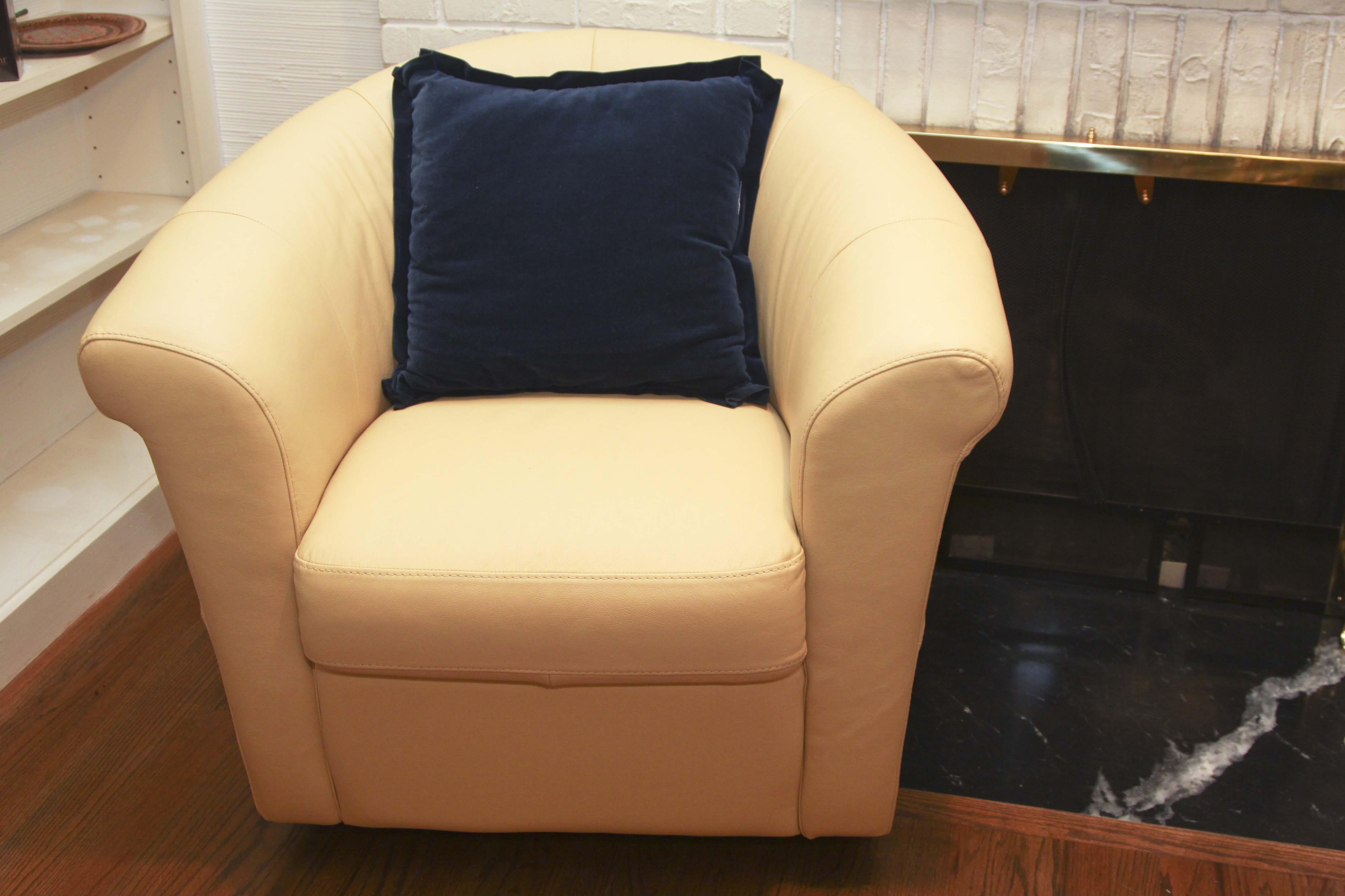 italsofa leather swivel chair sleeper sofa buttercup yellow : ebth