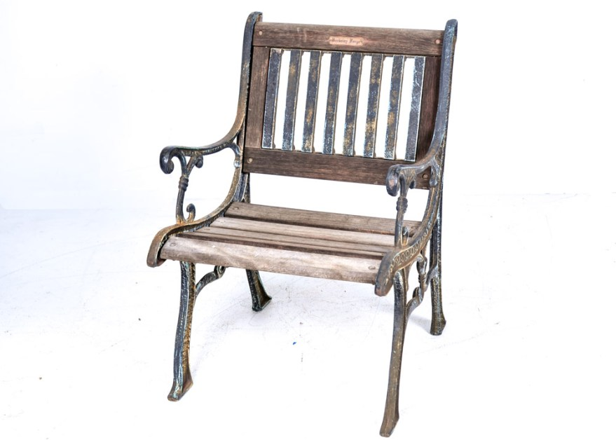 Vintage Berkeley Forge Cast Iron And Wood Garden Chair Ebth
