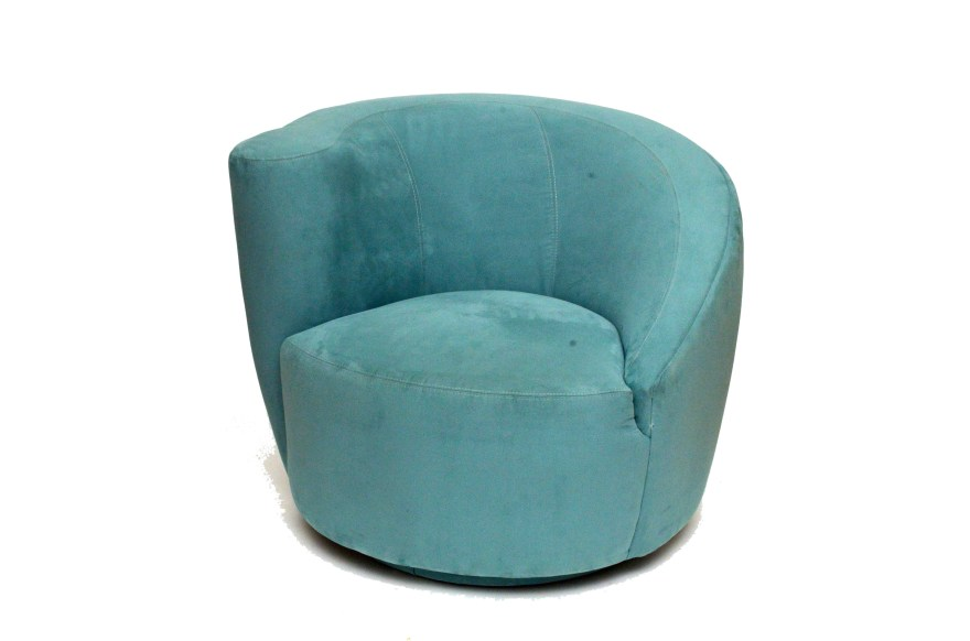 Teal Ultra Suede Upholstered Swivel Chair  EBTH