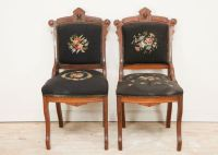 Antique Walnut Victorian Style Needlepoint Parlor Chair : EBTH