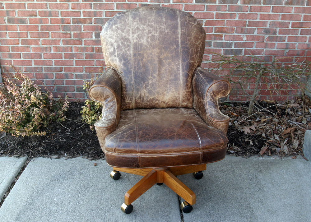 distressed leather desk chair covers wedding norwich rolling office ebth