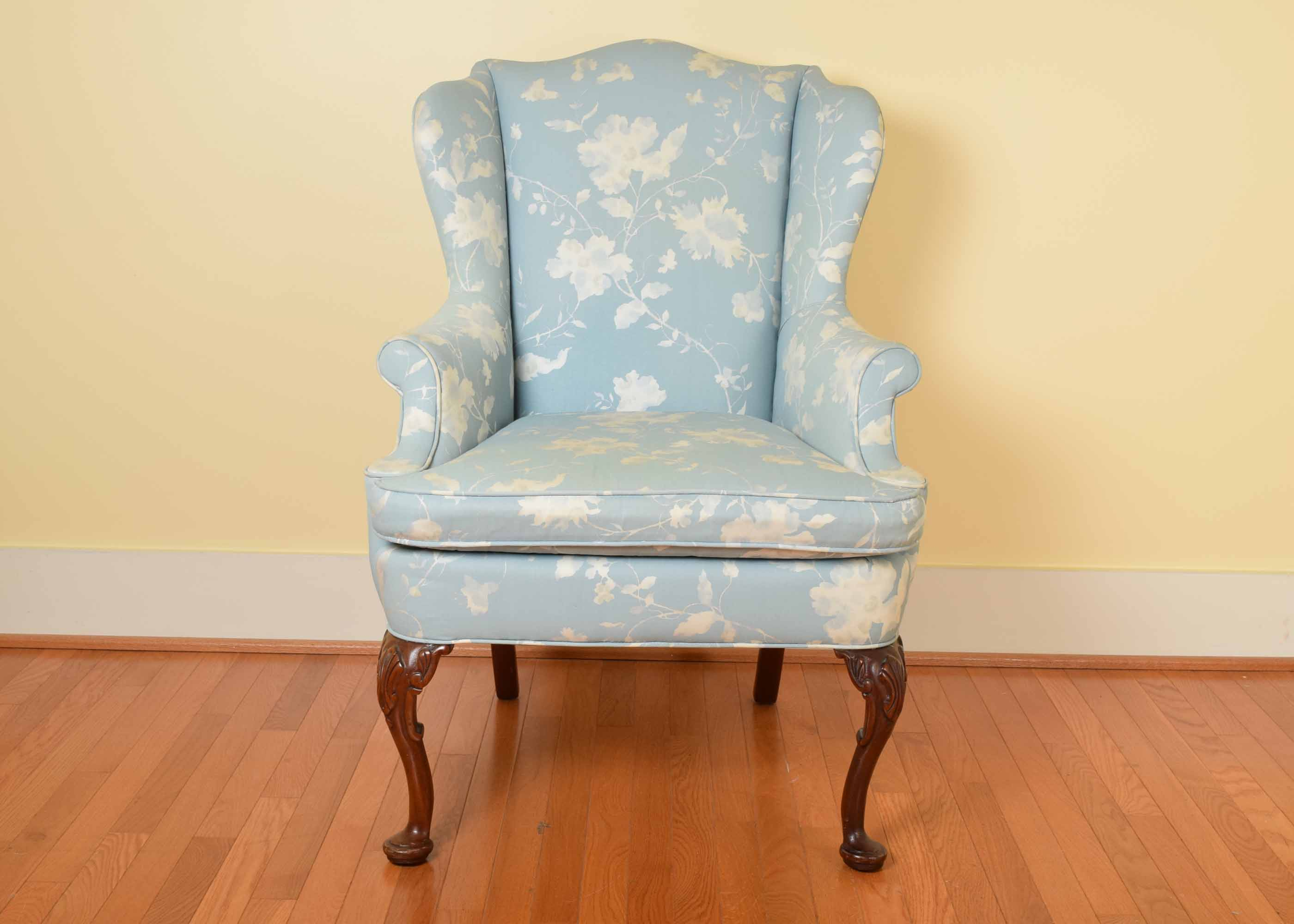 blue and white upholstered chairs how wide is a wheel chair key city queen anne style wing