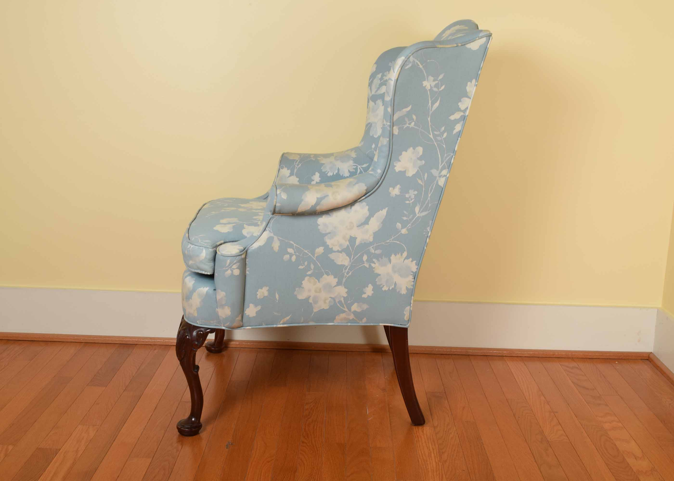 blue and white upholstered chairs how to paint plastic key city queen anne style wing