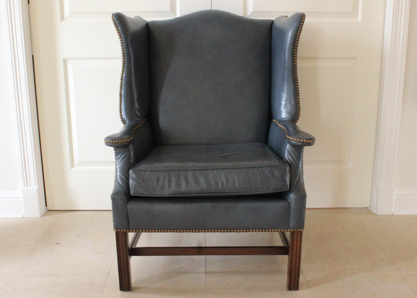 Navy Blue Wingback Chair Loeblein Creations Blue Leather Wingback Chair Ebth