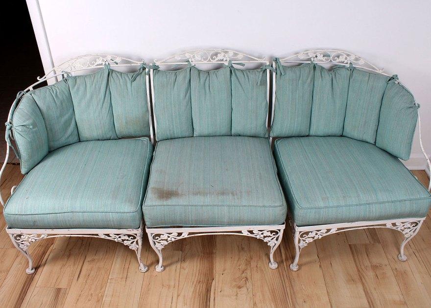 Woodard Wrought Iron Three-piece Outdoor Sofa Ebth