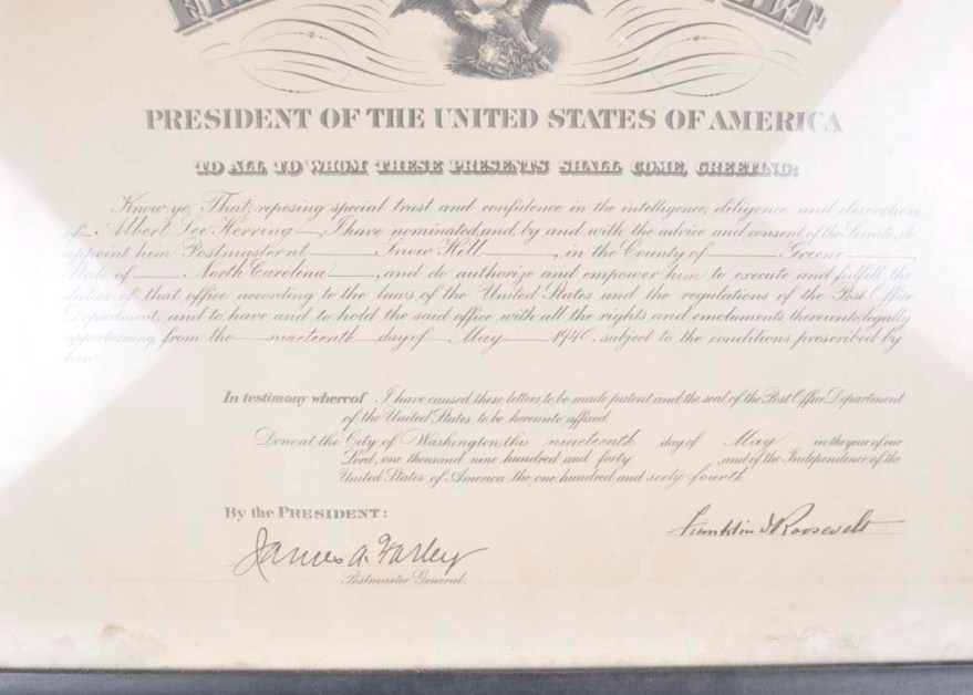 Postmaster Appointment Certificate Signed by Franklin D. Roosevelt | EBTH