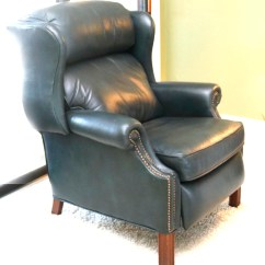 Teal Wingback Chair Director Covers Home Depot Leather Reclining Ebth