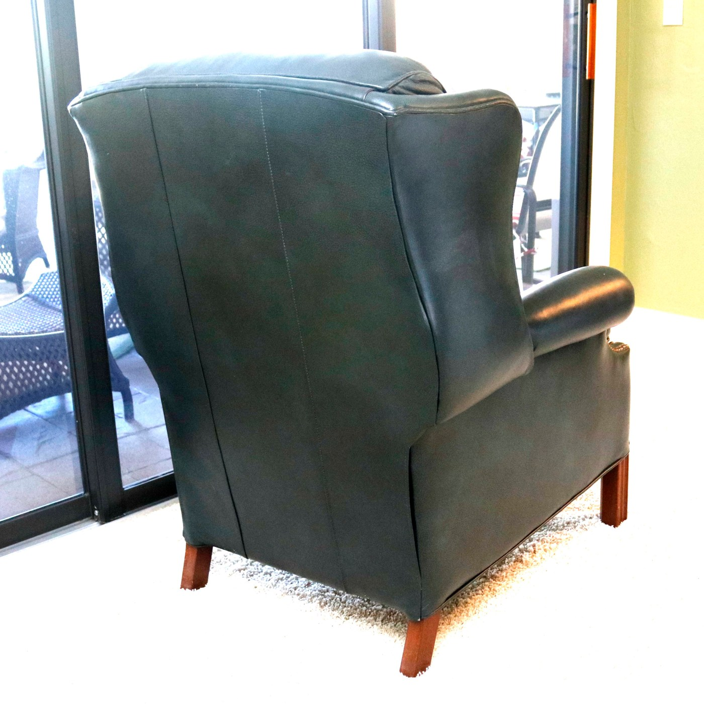 Teal Leather Chair Teal Leather Reclining Wingback Chair Ebth
