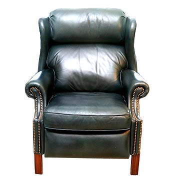 Teal Leather Reclining Wingback Chair  EBTH