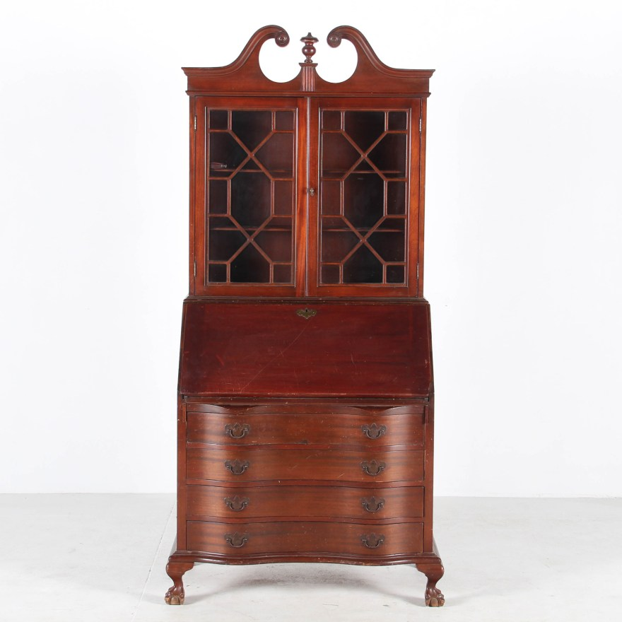 Chippendale Style Mahogany Secretary Desk from Maddox