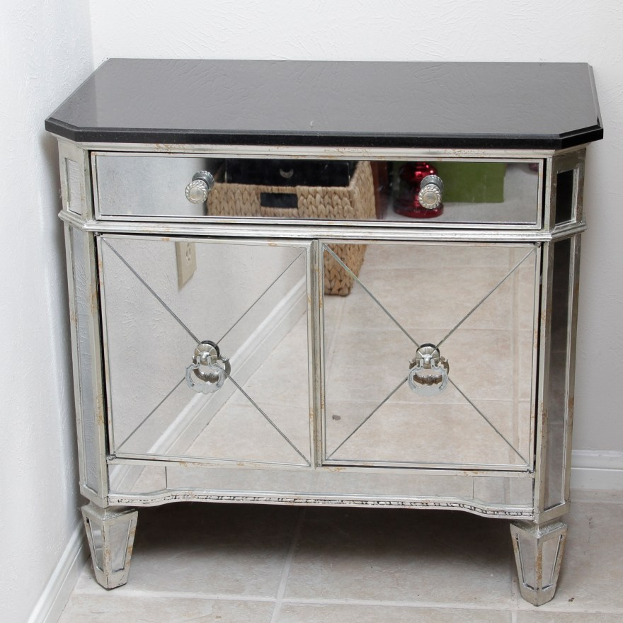Mirrored Nightstand With Black Granite Top Ebth