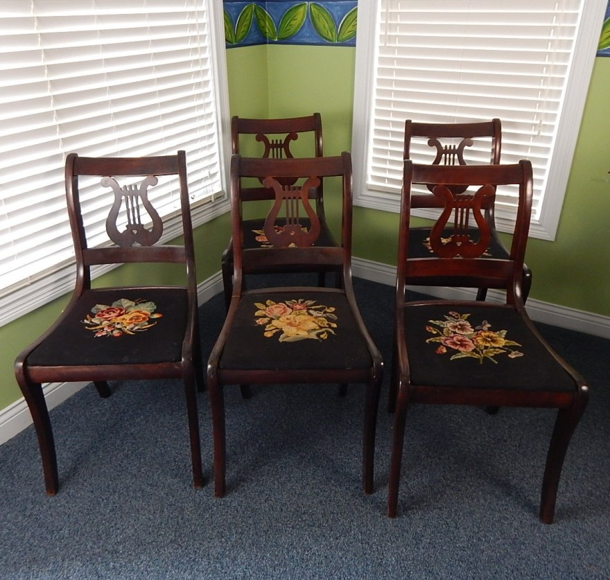 Five Vintage Harp Back Chairs WNeedlepoint Cushions EBTH