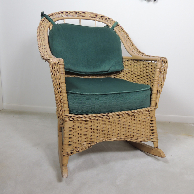 rattan wicker rocking chair cushion floor mats for office chairs on carpet artificial with green cushions ebth