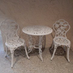 White Painted Table And Chairs Swing Chair Lazada Cast Iron Bistro Two Ebth