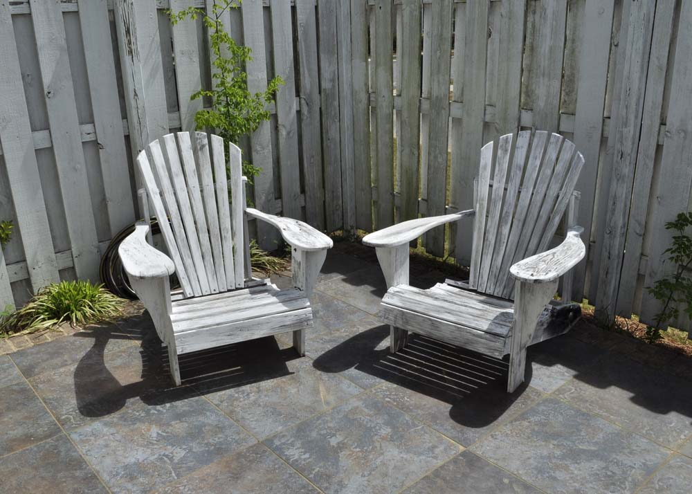 distressed adirondack chairs golden tech lift pair of white ebth