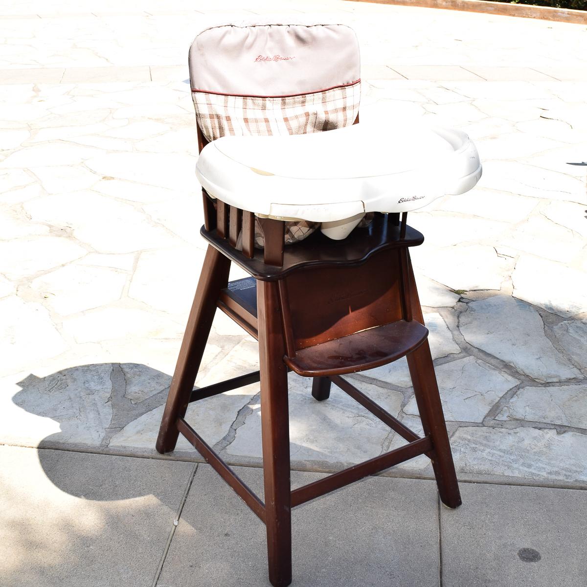 eddie bauer wood high chair black chairs target wooden ebth