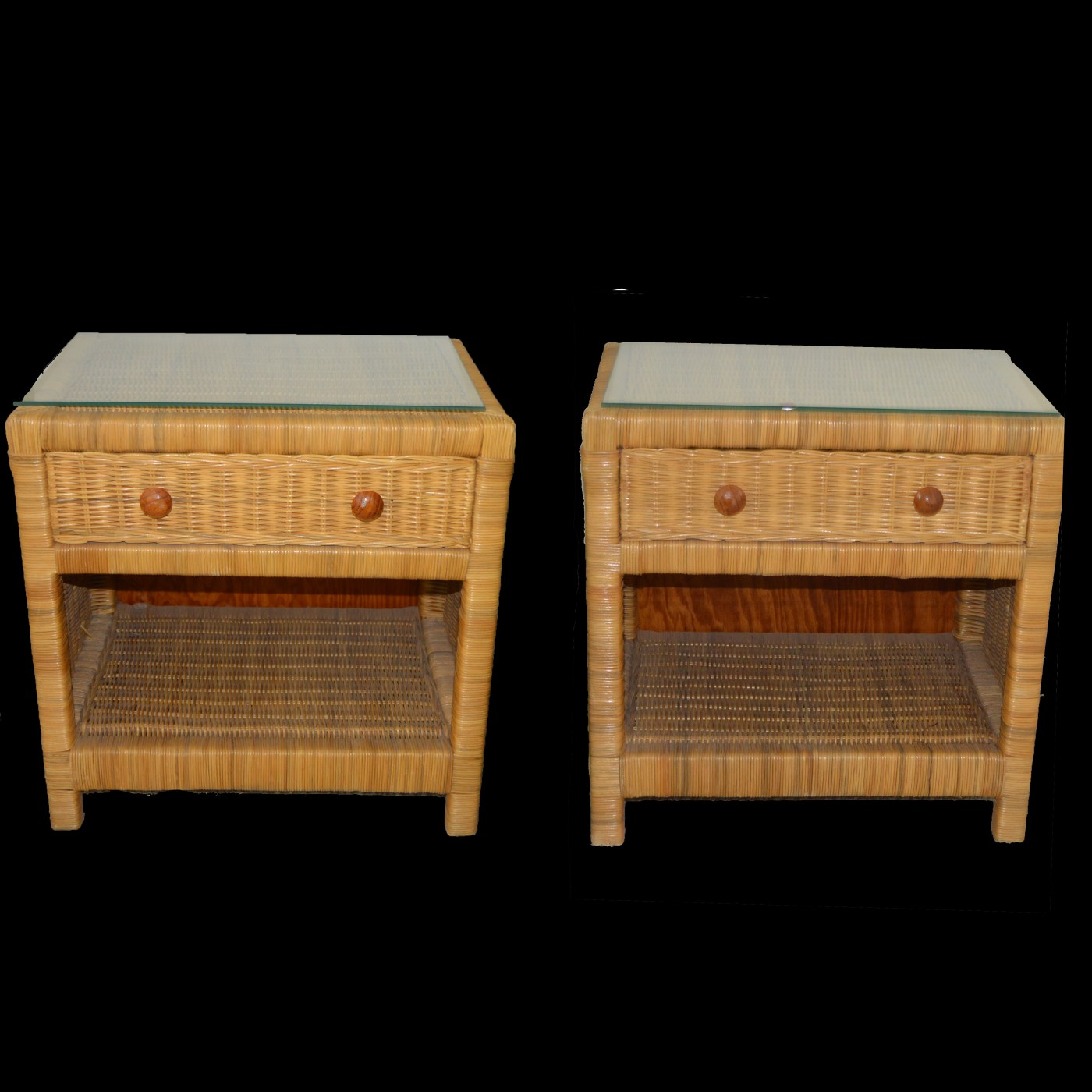 Pair of Rattan Wicker Nightstands : EBTH