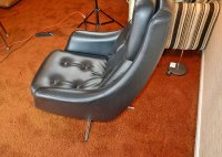 Mid Century Modern Black Leatherette Overman Lounge Chair ...