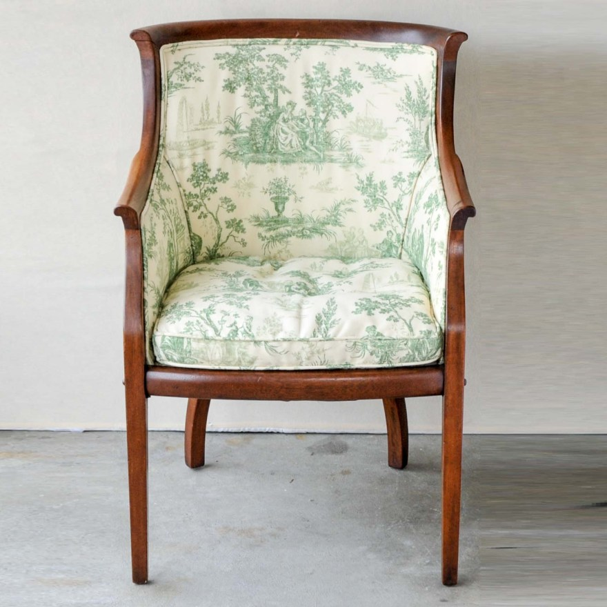 Vintage Upholstered Barrel Chair