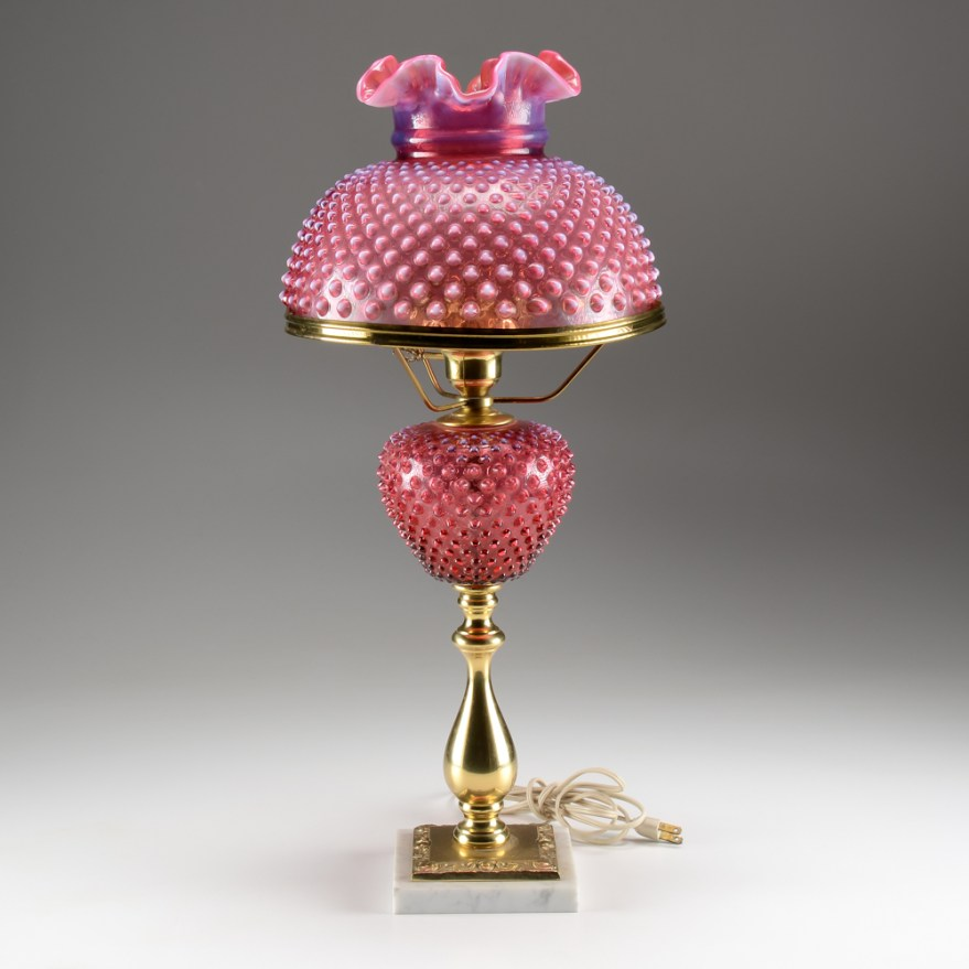 Cranberry Opalescent Glass Hobnail Table Lamp : EBTH