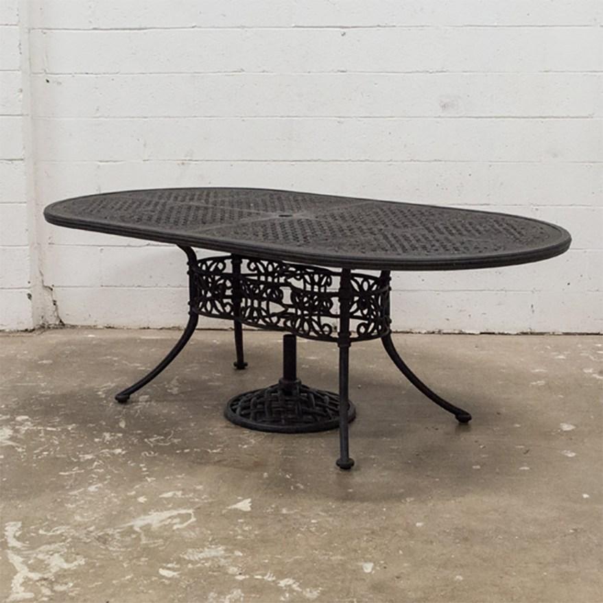 Woodard Landgrave Wrought Iron Patio Table Ebth