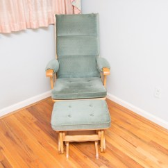 Newport Rocking Chair White Leather Center Miracle Rocker Glider And Ottoman Ebth