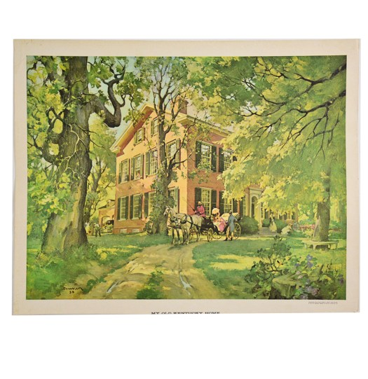 Vintage Offset Lithograph Print My Old Kentucky Home By Haddon Sundblom