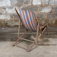 Vintage Striped Folding Beach Chairs : EBTH