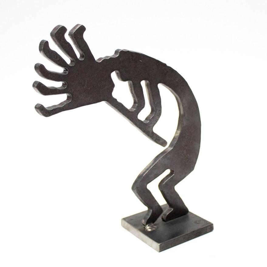 Signed Southwest Kokopelli Metal Sculpture Ebth