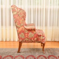 Floral Arm Chair Linen Covers Dining Room Print Highback Ebth