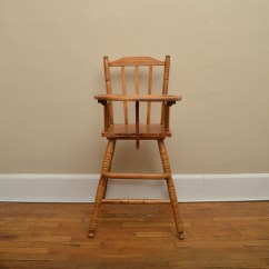 Vintage Wood High Chair Side Chairs For Dining Room Hedstrom Oak Ebth
